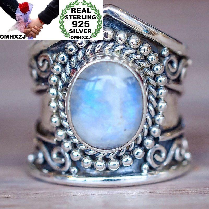 OMHXZJ Wholesale European Fashion Woman Man Party Wedding Gift Silver Vintage Moonstone Black Agate Turquoise Taiyin Ring RR323