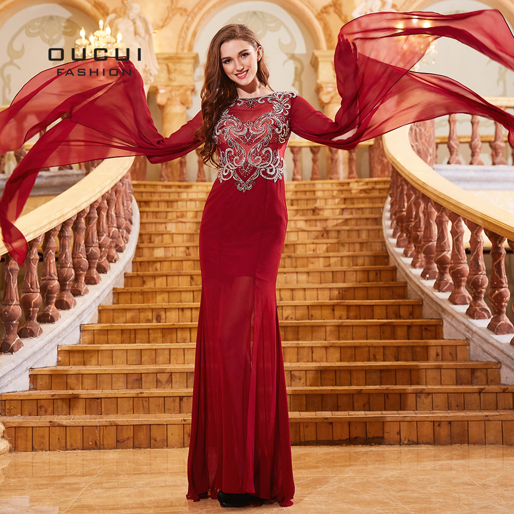 Oucui Robe De Soiree High Neck Sexy Slit   Prom     Dresses   Long Sleeve Wine Red Beading Chiffon Vestido Party   Dress   Custom OL103283