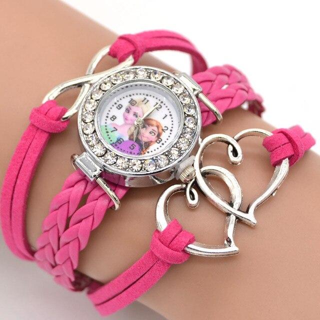Fashion jewelry Cartoon Figure Girls Heart Charm Bracelets Kids Gift Bracelet Watch
