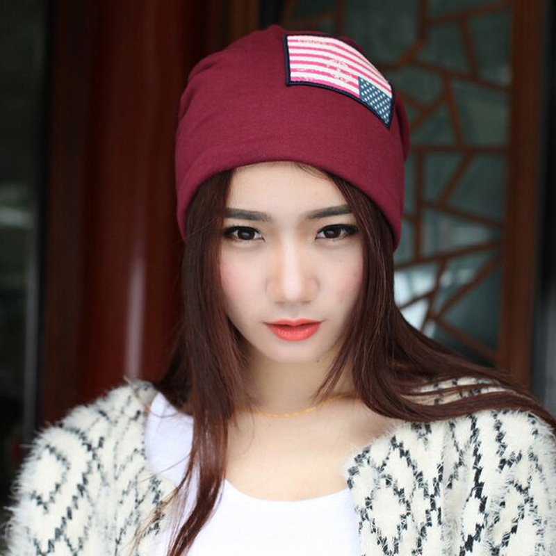 1 Pcs 2017 New Spring Summer American Flag Knitted Cap Fashion Hat For Men And Women Beanies Skullies 4 Colors