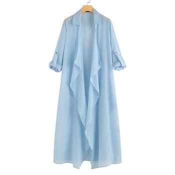 Vintage Women Kimono 5XL Celmia  Casual Long Sleeve Blouses Female Loose Beach Long Cardigan Solid Autumn Shirts Plus Size Tops 8