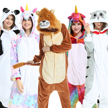 408d4bcba333 PSEEWE Flannel Winter Pajama sets Women Sleepwear unicorn Panda stitch  onesies for adults Animal Pajamas Cosplay