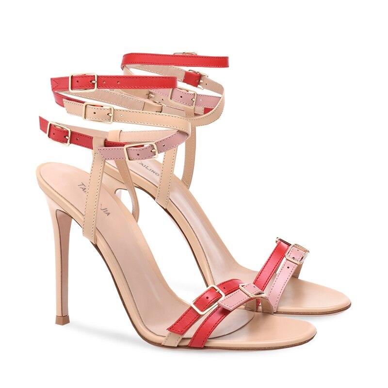 Moda Multi hebilla enjaulada sandalia mujeres Stiletto tacón sandalias blanco de tiras con tacones altos señoras verano vestido de fiesta zapatos - 2