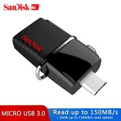 Original OTG Pen Drive 130 mb/s SanDisk USB 3.0 Flash Drive 16 GB de Armazenamento Externo Pendrive 32 gb OTG 64 GB de Memória Usb stick 3.0