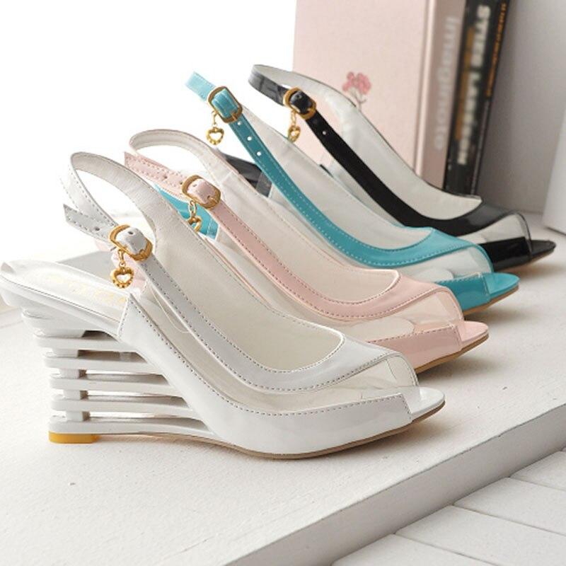 HTB1TSXLadfvK1RjSszhq6AcGFXaM Taoffen 2019 New Women Heel Sandals Buckle Open Toe High Wedge Shoes Women's Summer Shoes Sexy Women Shoes Footwear Size 34-43