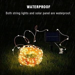 Солнечная гирлянда 12 м 100LED / 5 м 50 LED Водонепроницаемая наружная гирлянда Солнечная энергия лампа Рождество для украшения сада