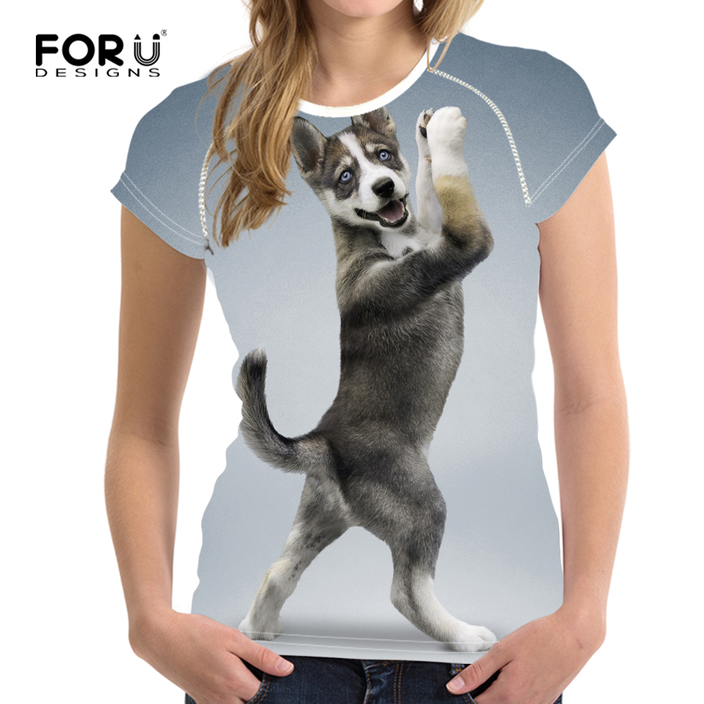 FORUDESIGNS Brand Designer Wome T Shirt Funny 3D Animal Cat Printed Girls Tshirts Fashion O Neck Short Sleeve Tops Tee