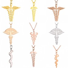 6 Style Double-headed Helix Snake Shape Wing Necklace Stainless Steel Silver Gold Chain Pendant Necklaces For Women Men Jewelry
