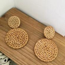Женские Висячие серьги с двойным кругом Длинные плетеные из