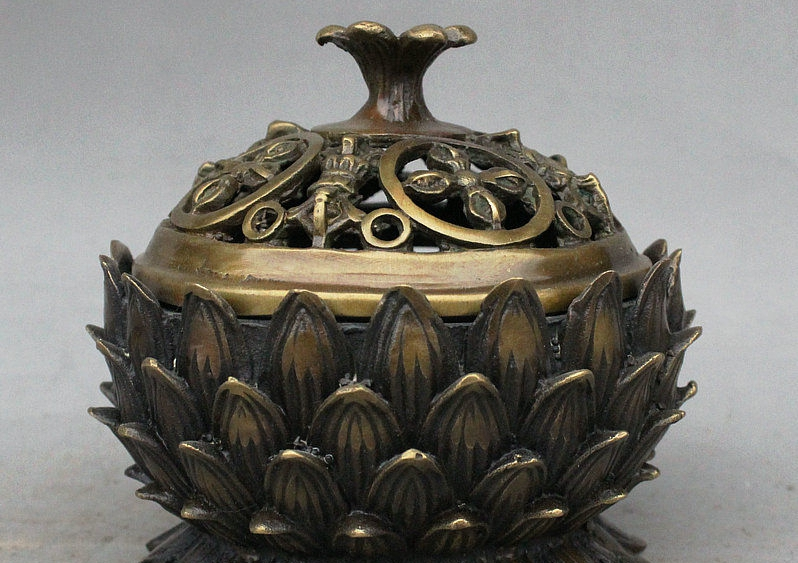"4"" Old Tibet Bronze Carved Phurba Dagger Holder Lotus Incenser Burner Censer"