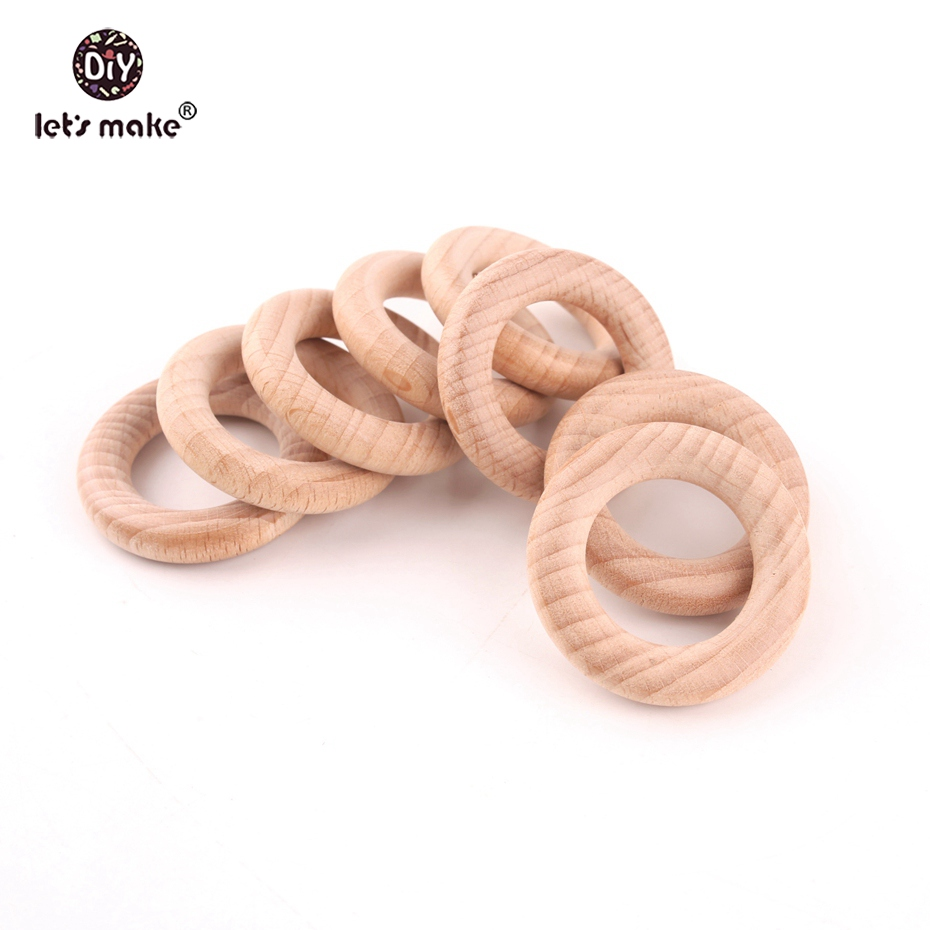 Let's Make Beech Wood 50pc Wooden Ring 40mm Wooden Teether DIY Bracelet Crafts Gift Teething Accessory Baby Teether