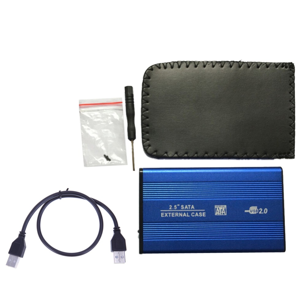 2,5 pulgadas USB2.0 SATA externo caso HDD Disco Duro móvil caja de carcasa de aleación de aluminio carcasa adaptador para PC portátil