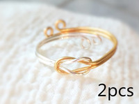 2pcs Double Knot Ring Handmade 14K Rose Gold Filling Sterling Silver Adjustable Reversible Infinity Love Jewelry