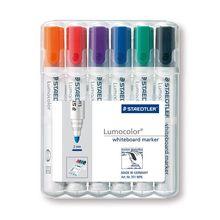Staedtler Lumocolor Whiteboard Dry Wipe Marker 351 Bullet Tip (approx. 2 mm)  Wallet of 4/6
