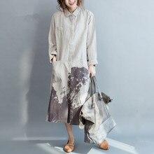 3174c8033832cc Boho Vrouwen Shirt Jurk Lange Mouw Linnen Katoen Vintage jurk Zomer Linnen  jurk Wit patronen Casual