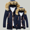 2016 Winter Men's Cotton-padded Parka Clothing Thicking Men Anorak Jacket Coat with Fur Hood High Quality Jackets Male Plus Size