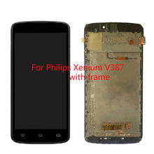 100% Original FOR Philips Xenium V387 LCD  Display With Touch Screen Digitizer Glass Assembly + Frame By Free Shipping
