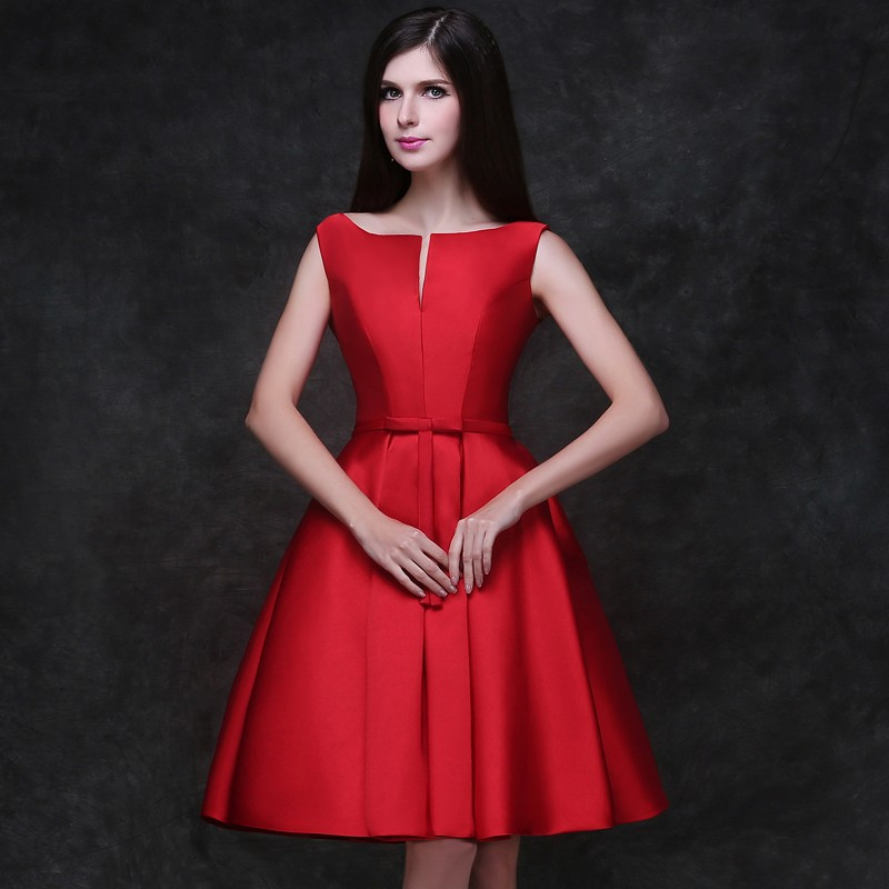 8a3b1e9b742 Red Satin Homecoming Dresses Short Cocktail Prom Dresses Lace-Up High  School University Party Dresses A Line Graduation Dresses
