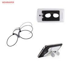 2574f8fecb8 WEARKAPER Unisex Nose Clip Glasses Thin Portable Reading Glasses with Phone  Stands Glasses Case Mini Pocket Pince Nez Optics