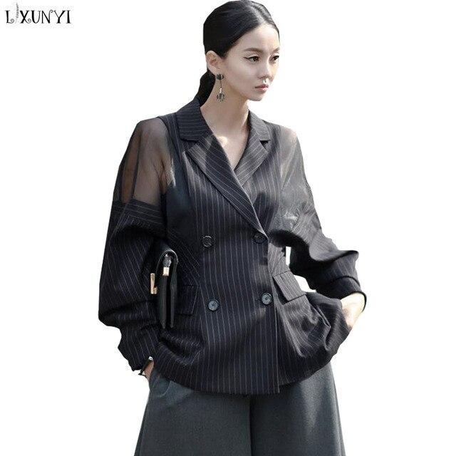 Plus Size Striped Blazer Women Batwing Sleeve Office Blazers Ladies Double Breasted Women's Spring Jacket Mesh Casaco Feminino