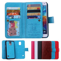 Hybrid Wallet With Card Holder Mobile Phone Bag Case For Samsung Galaxy S5 SV I9600 PU
