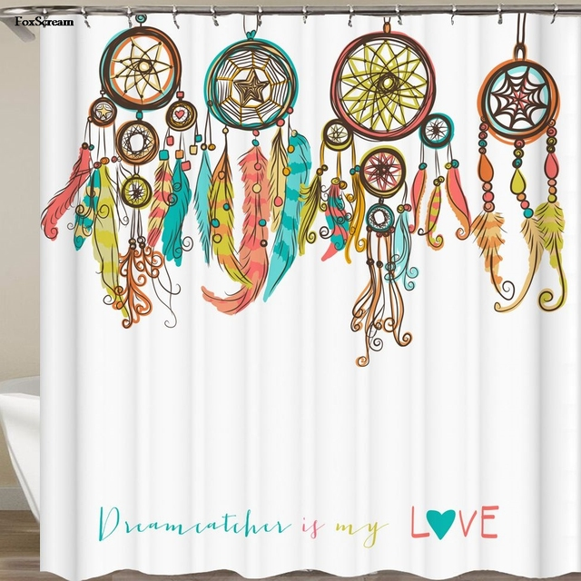 Feather House Decor Shower Curtain Primitive Hippie With South Western Dove  Eagle Hawk Raven Feathers Artwork