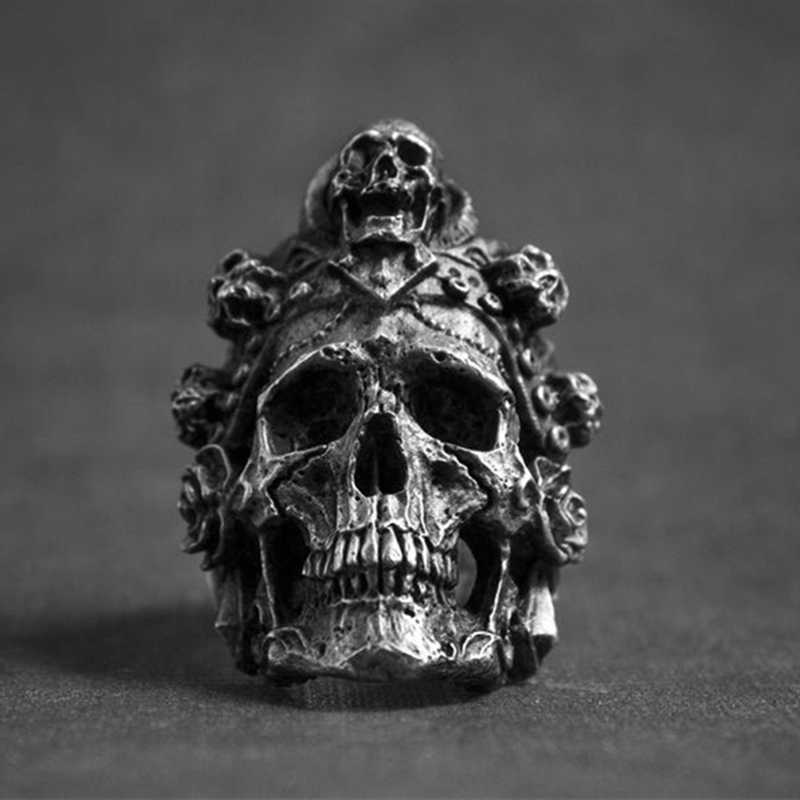 Santa Muerte Death Skull Ring 316L Stainless Steel Jewelry Titanium Steel Men Ring Punk Biker Rings