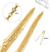 Semitree 10 piezas de oro de acero inoxidable cadenas collares con cadena de extensión bricolaje joyería de moda colgante venta al por mayor cubano cadena