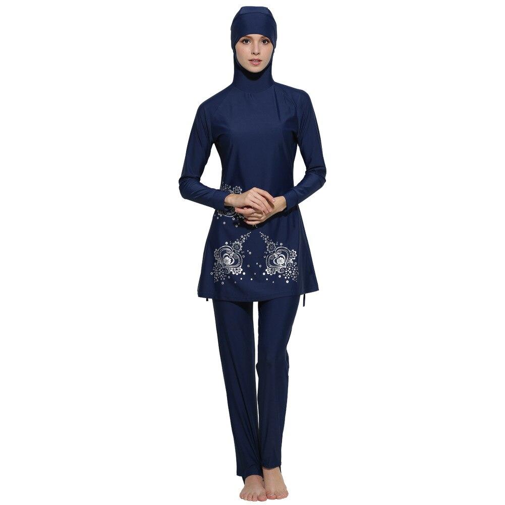 Floral Print Islamic Swimwear Women Girls Muslim Swimwear Full Cover Modest Islamic Swimming Suits Plus Size Burkinis