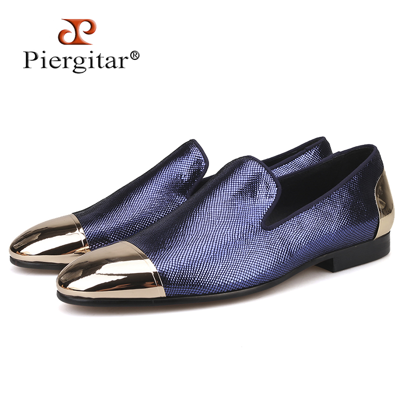 Piergitar new style blue and red plaid sheepskin men s shoes with front and back metal