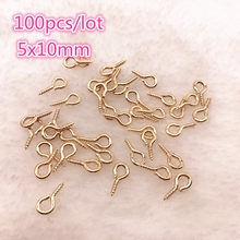 100pcs/lot 5x10mm Small Sheep Eyes Nail Screw Gold/Silver Color For Beaded pendant Jewelry Accessories(China)