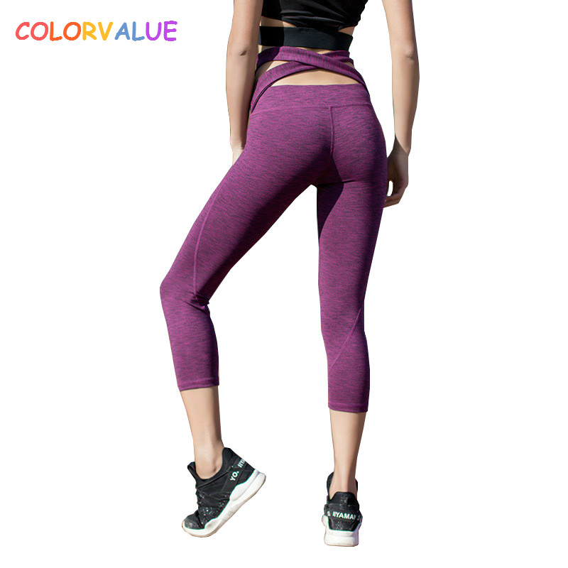 Colorvalue Chic Waist Cross Fitness Sport Capri Pants Women Stretchy High Waist Gym Running Tights Yoga Workout Cropped Trousers