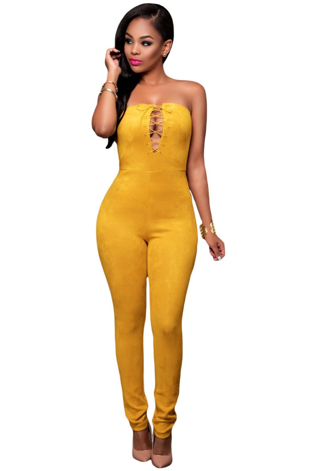 371308bc708c US $25.01 |FIYOTE 2016 playsuits Macacao Feminino Khaki Deep V Lace up Faux  Suede Strapless Jumpsuit LC64157 Monos Largos De Mujer On Sales-in ...