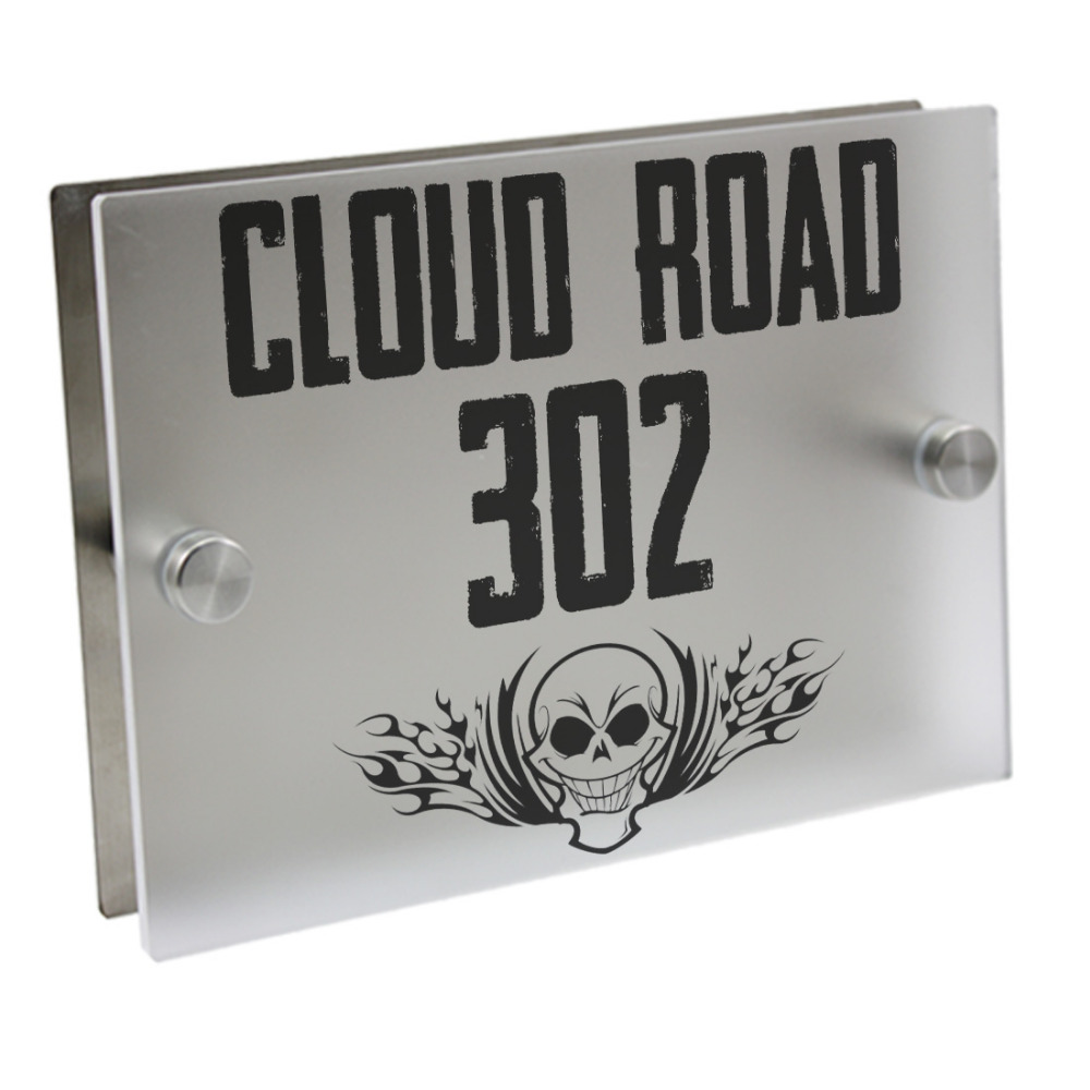 Spoof doorplate personalized house number door sign plaque street acrylic matte glass top house address plaques outdoor signs