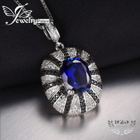 JewelryPalace Luxury 6ct Created Sapphire Black Spinel Solid 925 Sterling Silver Pendant Fiine Jewelry Without The