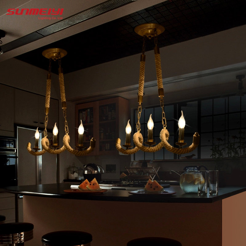 2017 Retro Vintage Rope Pendant Light Lamp Loft Creative Personality Industrial Lamp Edison Bulb American Style For Living Room edison loft style vintage light industrial retro pendant lamp light e27 iron restaurant bar counter hanging chandeliers lamp