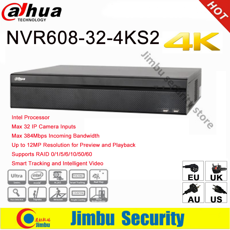 Dahua NVR 4K  32 Channel video recorder NVR608-32-4KS2Ultra 4K H.265 Video Recorde Intel Processor Up to 12MP Resolution