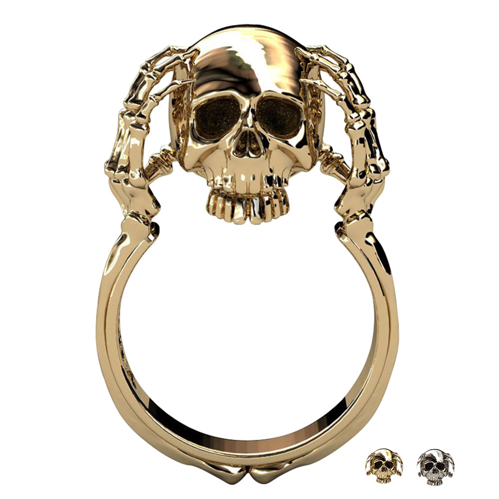 ac292a8be6830b 2019 Women's Ring Wholesale Cool Hell Death Gold Skull Ring Man Never Fade  Punk Biker High Quality Ring