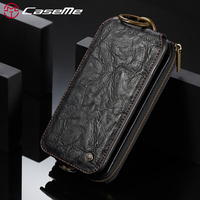 CaseMe Song For IPhone 7 8 Plus Leather Phone Cases Luxury Vintage 2 In 1 Metal