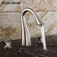 Brand New Waterfall Bathroom Widespread Sink Faucet 3 Holes Dual Handle Basin Mixer Taps Chrome Finish AL 7301L