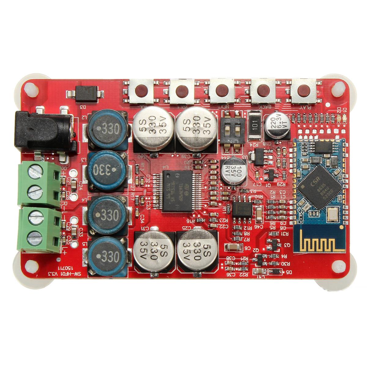 LEORY Bluetooth CSR4.0 TDA7492P 50W*2 Wireless Audio Receiver Power Digital Amplifier Board 82x55mm