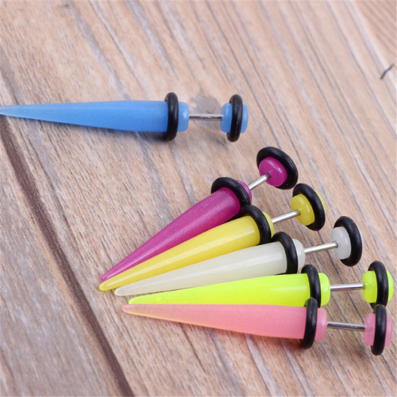 2PCS New Ear Expansion Fashion Luminous Ear Plug Acrylic Spiral Punk Ear Stretcher Expander Women Men Body Piercing Jewelry