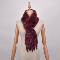 The new style genuine real fur scarf grid knitted rex rabbit fur scarf Autumn winter Neck warm stole fur Shrug Tassels Shawl