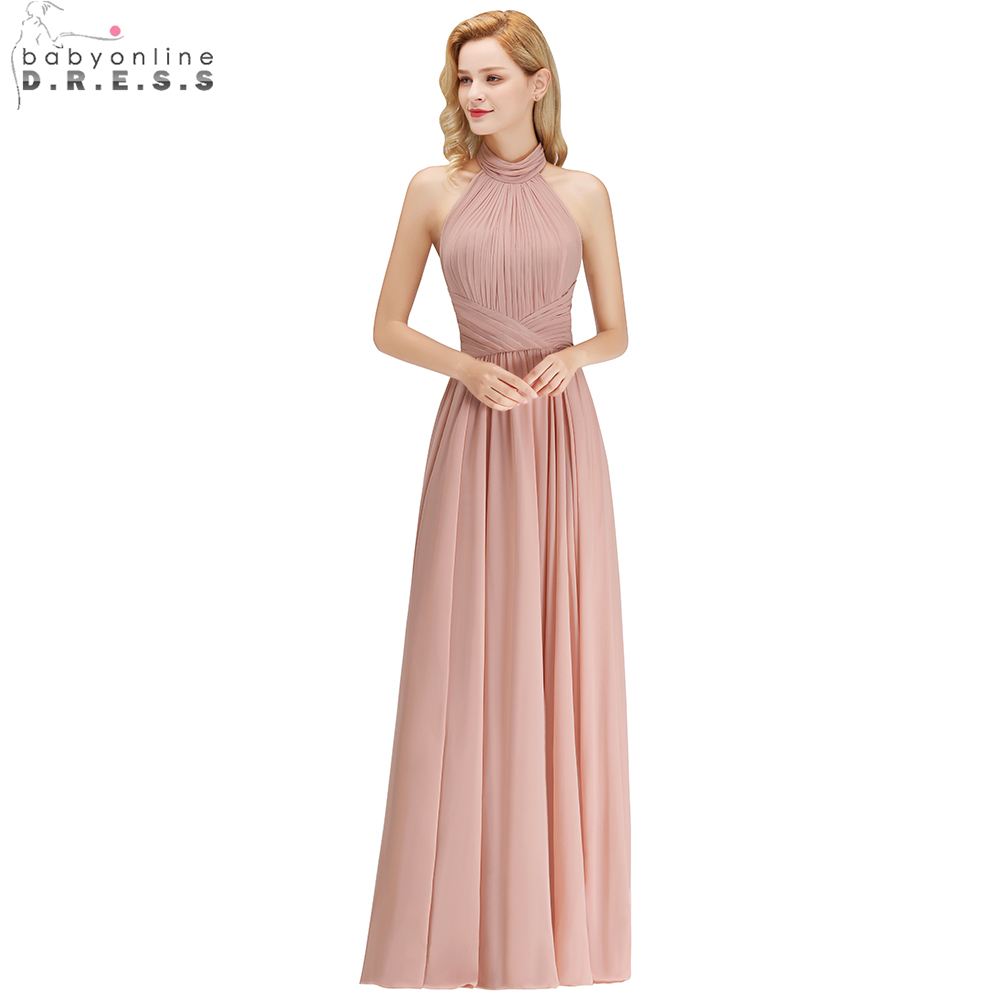 Babyonline Sexy Halter Dusty Rose Long   Bridesmaid     Dresses   2018 Backless Wedding Party   Dresses   robe demoiselle d'honneur