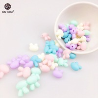 Let's Make Silicone Small Rabbit 100pc Pastel Color Baby Nursing Accessories Teething Jewelry Food Grade Teether Silicone Bead