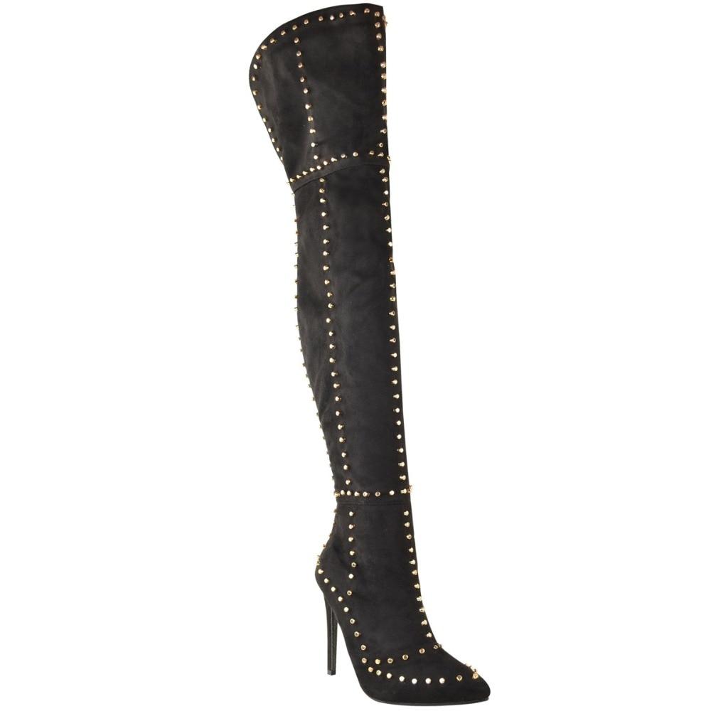 Femme Bottes Styles Chaussures Bout Deux Hauts Le Mode Sur As Genou Sexy Talons Nouveau Rivet Hiver Picture as Parti Mince Pointu Picture Automne qwIAXzp