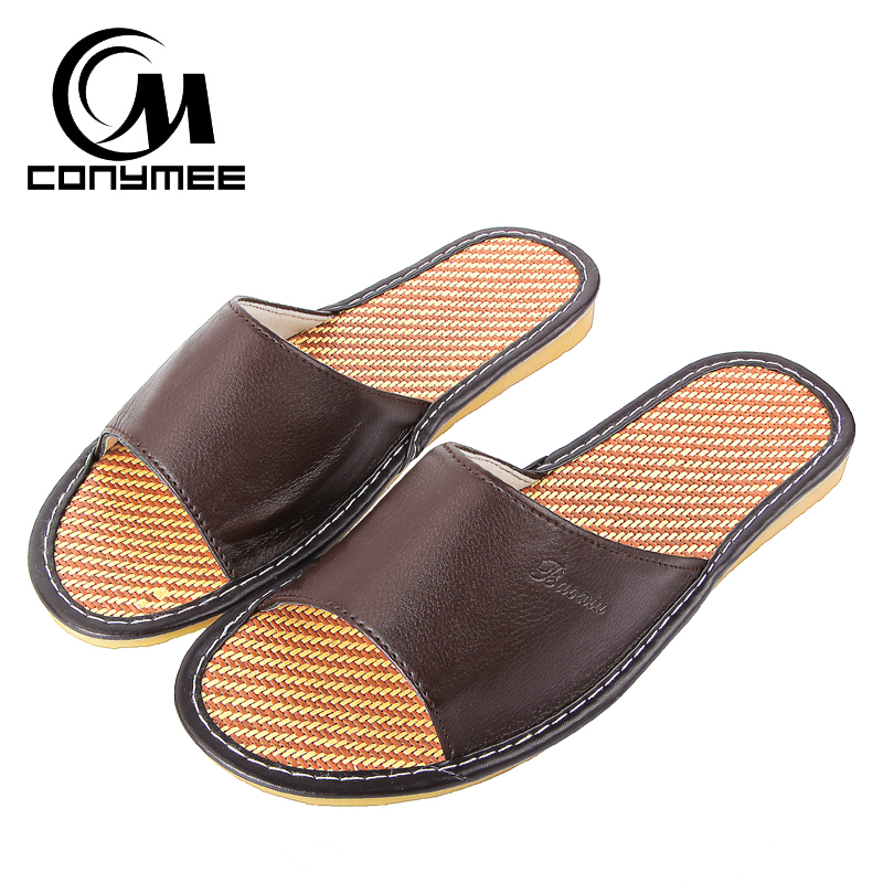CONYMEE 2018 Men Summer Sandals Indoor Casual Shoes Sneakers For Home Genuine Leather Beach Slippers Non-Slip Mens Pantufas conymee jd xtw home slippers