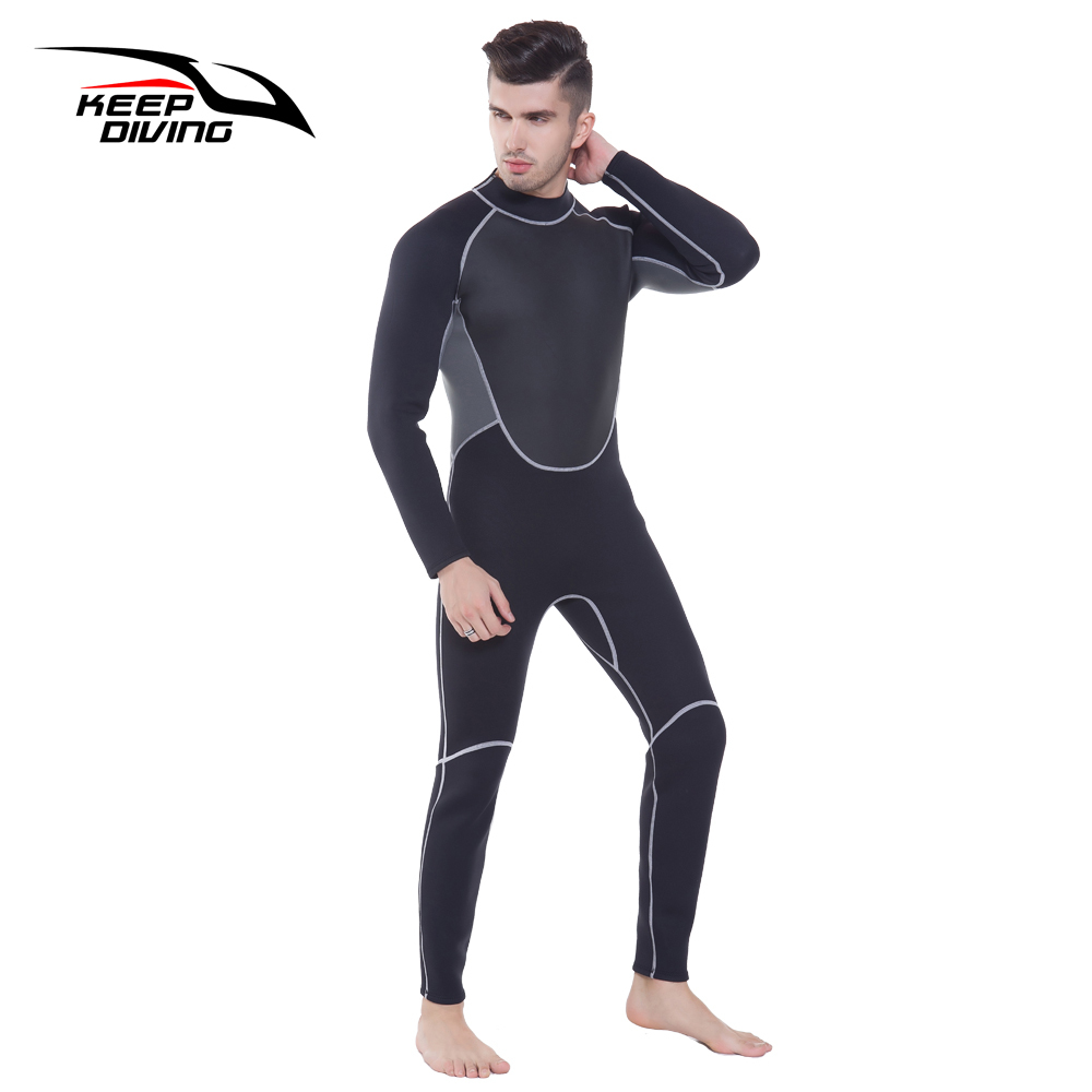 Image 4 - KEEP DIVING Professional Neoprene 3MM Wetsuit One Piece Full body For Men Scuba Dive Surfing Snorkeling Spearfishing Plus Size-in Wetsuit from Sports & Entertainment