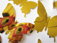 Hot sale Reflecting Butterfly Wall Stickers Decal Butterflies 3D Mirror Wall Art Home Decors sticker