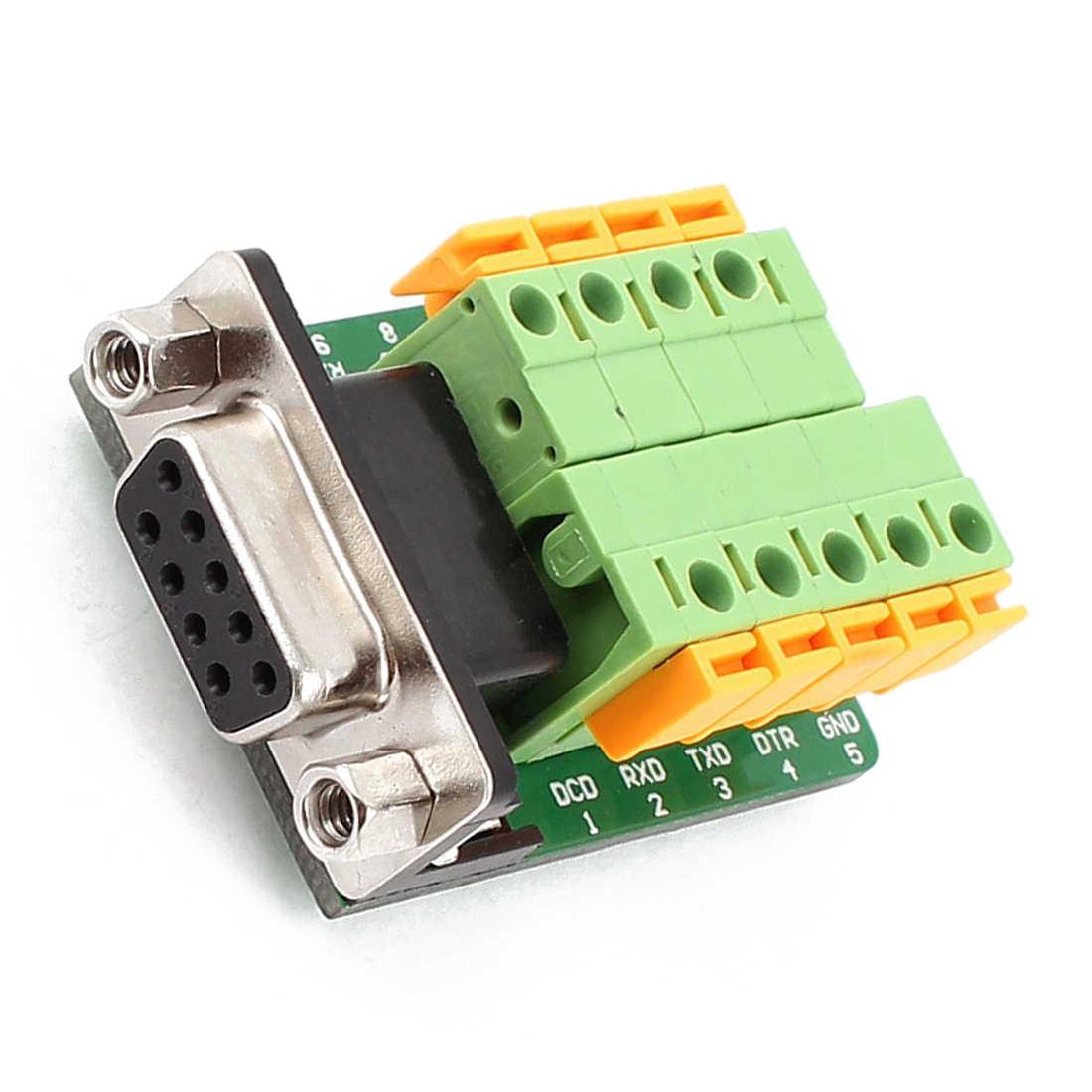DB9 RS232 シリアルメスアダプタプレートに 9 ポジション端子コネクタ黒 + 緑 + 黄